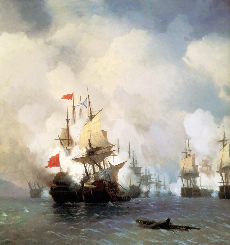 Бой в Хиосском проливе 24 июня 1770 г. Айвазовский
