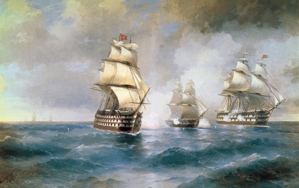 Бриг Меркурий, атакованный двумя турецкими кораблями. Айвазовский