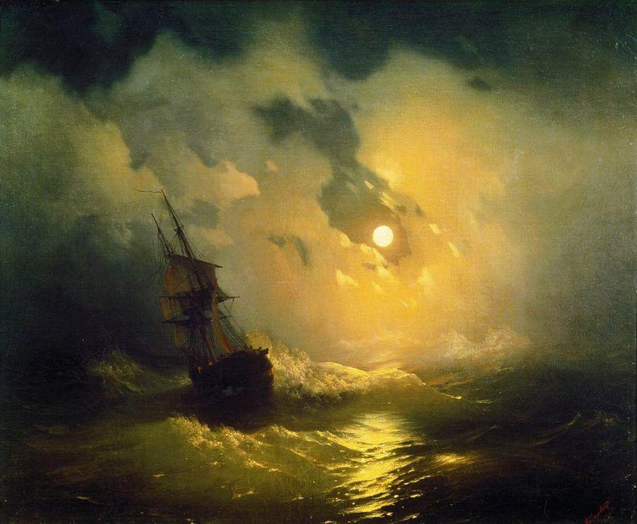 Буря на море ночью. Айвазовский