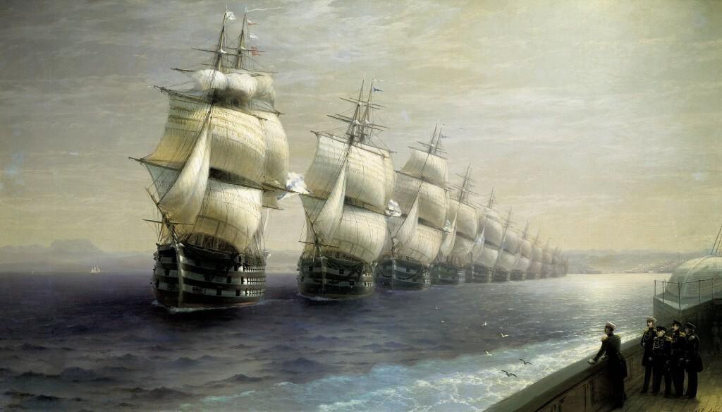 Айвазовский. Смотр Черноморского флота в 1849 г.