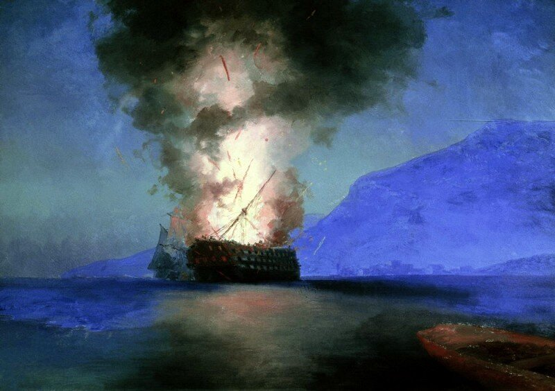 Айвазовский. Взрыв корабля