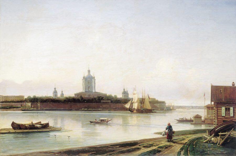 Вид Смольного монастыря с Большой Охты. (1870-е). Боголюбов А.П.