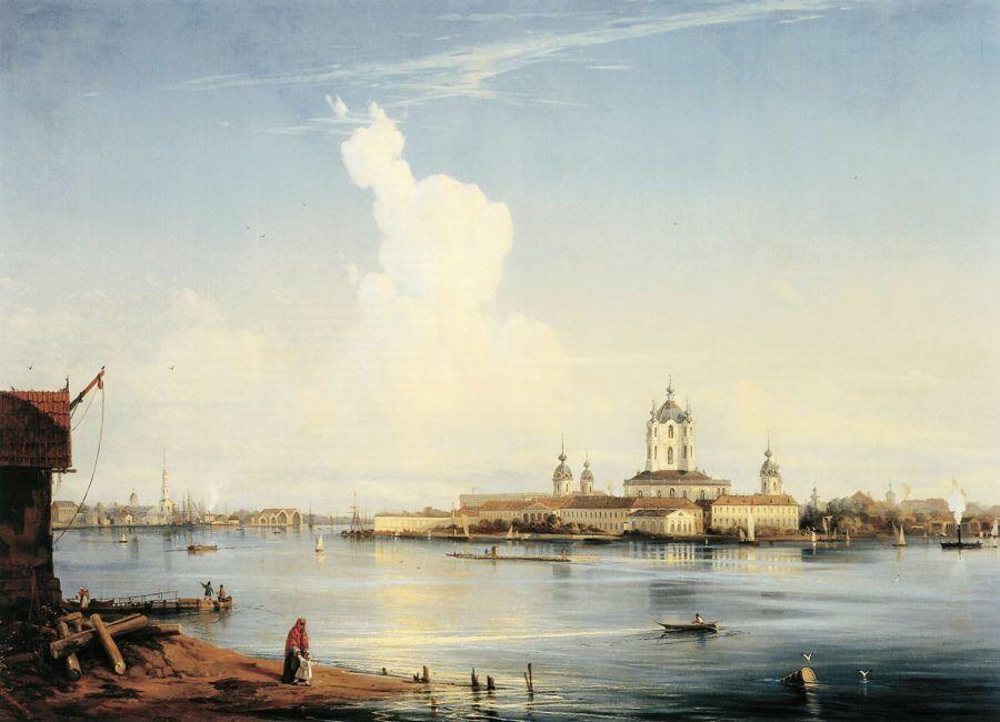 Вид на Смольный монастырь с Большой Охты. (1851). Боголюбов А.П.