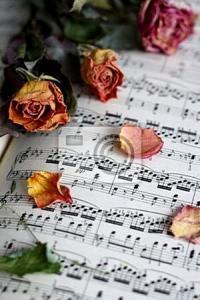 Постер Нотная тетрадь и розы