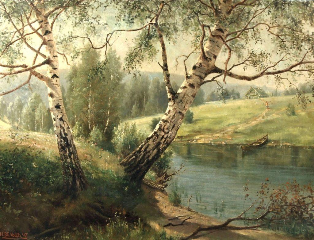 Березы на берегу реки. Вельц И.А.