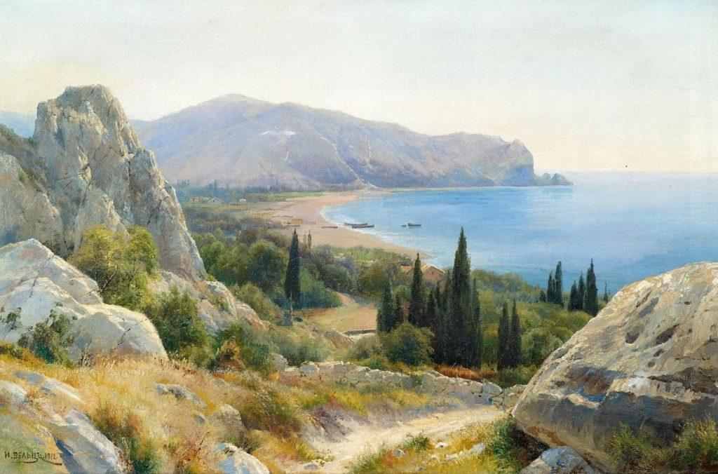 Иван Вельц. Летний пейзаж с прибрежными скалами