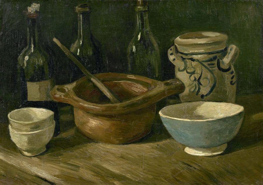 Картина Натюрморт с бутылками и глиняной посудой