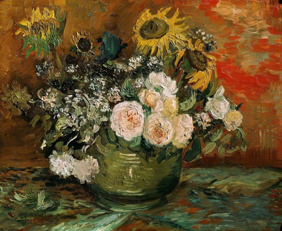 Картина Натюрморт с розами и подсолнухами