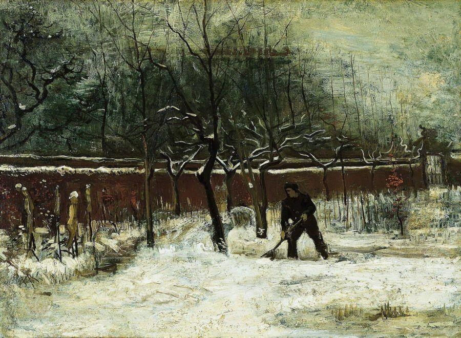 Ван Гог. Сад священника в Нейнене в снегу