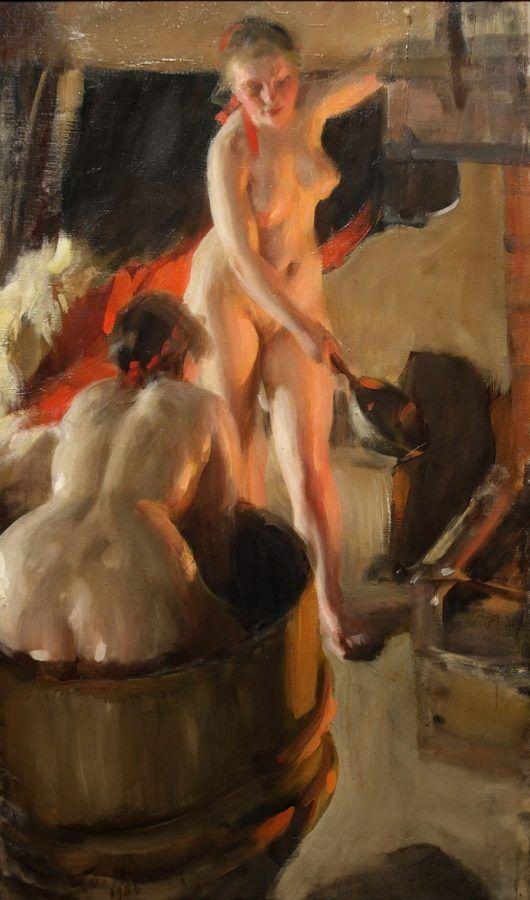 В старину барин в русской бане с девками