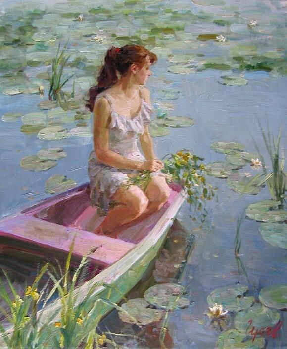 Владимир Гусев. Девушка в лодке