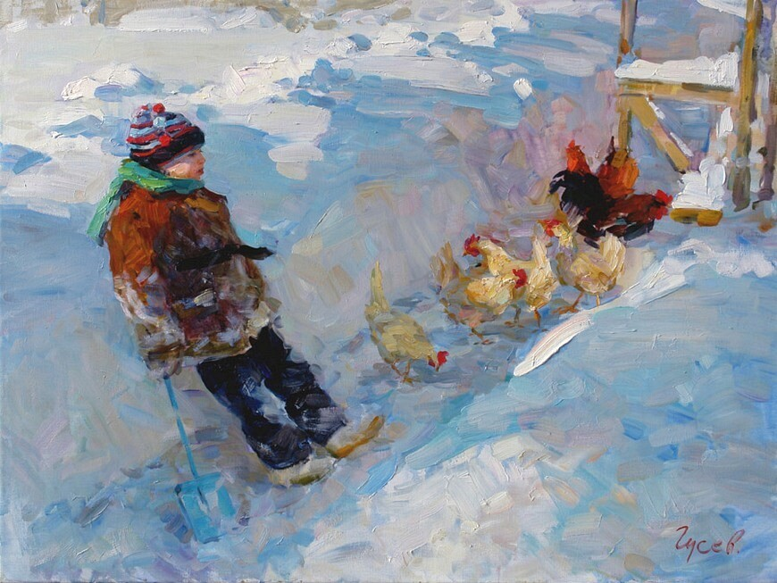 Владимир Гусев. Зима в деревне
