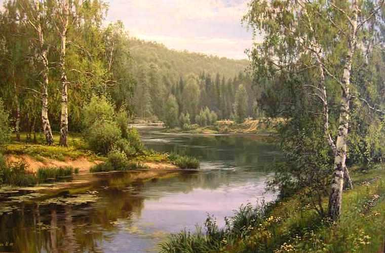И.Прищепа. Березы у реки
