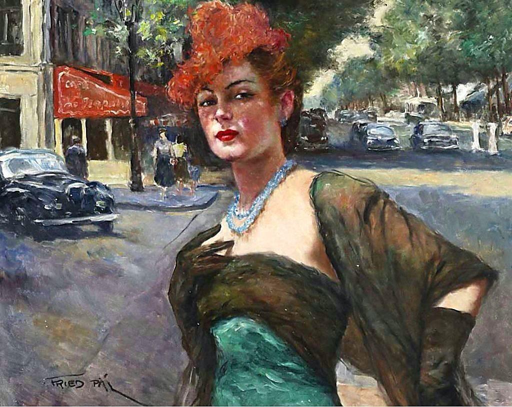 Пал Фрид. Женщина в красной шляпе с перьями страуса