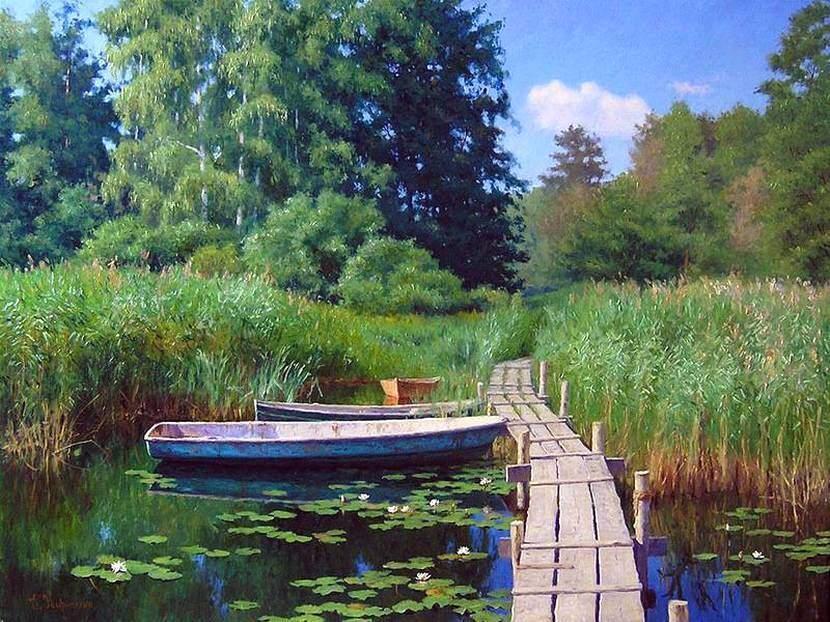 Г.Кириченко. Пейзаж с лодками