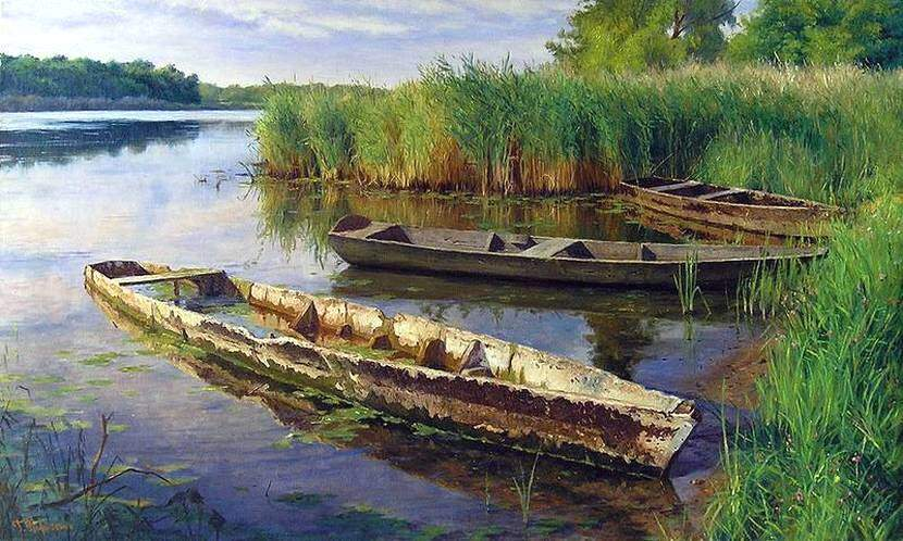 Г.Кириченко. Лодки. Вечерняя тишина