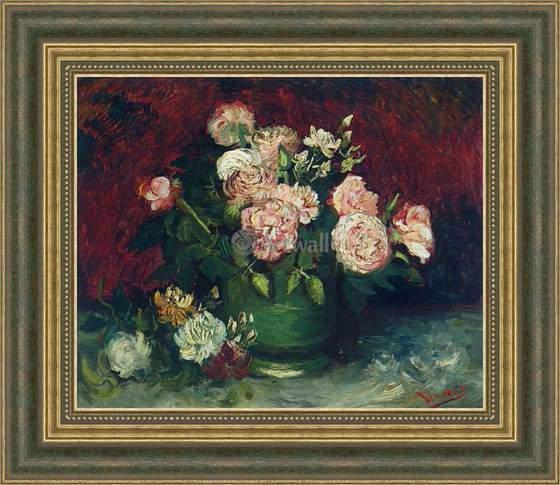 Картина Ваза с пионами и розами