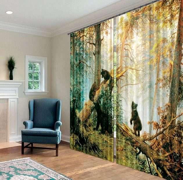 Фотошторы - картина Шишкина Утро в сосновом лесу
