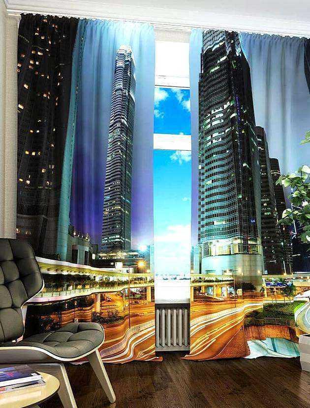 Фотошторы - городской пейзаж, небоскребы