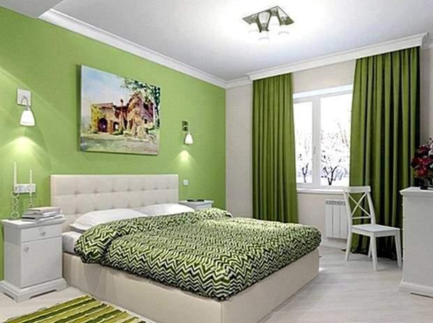 Светло-зеленый цвет спальни