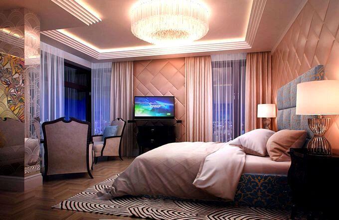 Массивная люстра в интерьере спальни