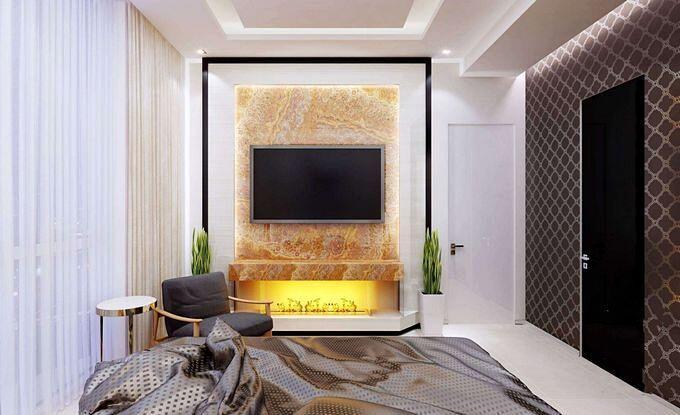 Оформление стен спальни в разных цветах