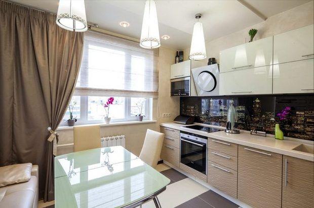 Кухня с конусными светильниками