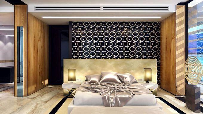 Оригинальное изголовье кровати в спальне