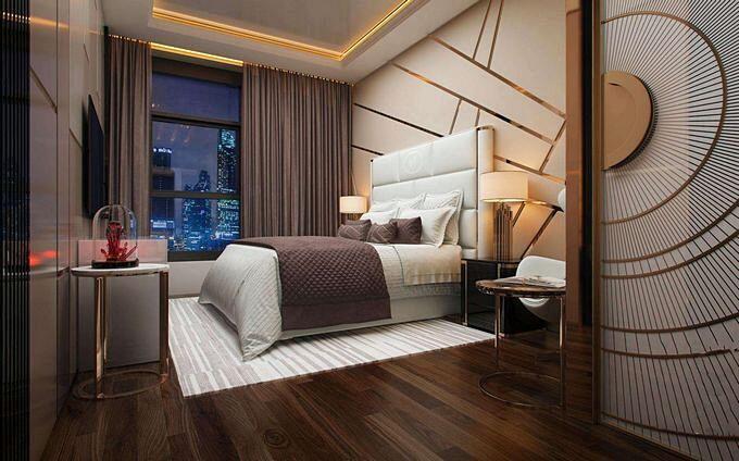 Оригинальный интерьер современной спальни