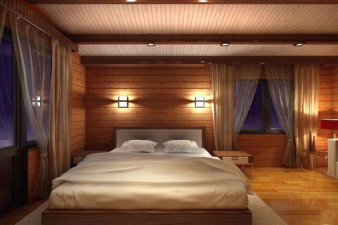 Использование дерева в интерьере спальни