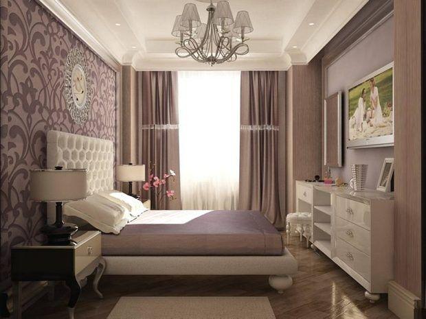Интерьер спальни в сиреневом цвете