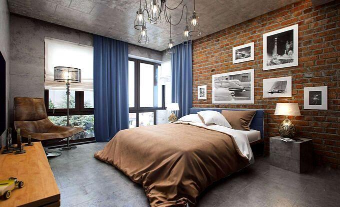 Интерьер спальни в стиле лофт