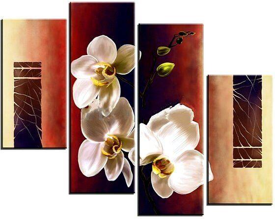 Модульные картины. Три белых орхидеи