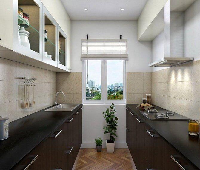 Планировка кухонь в две линии