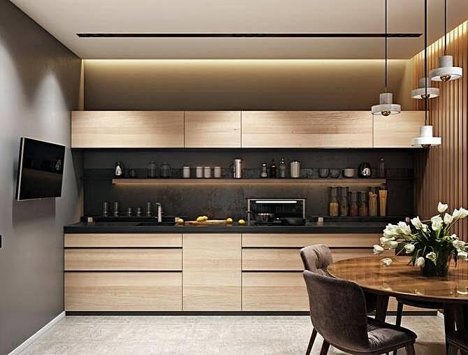 Интерьеры маленьких кухонь в стиле модерн