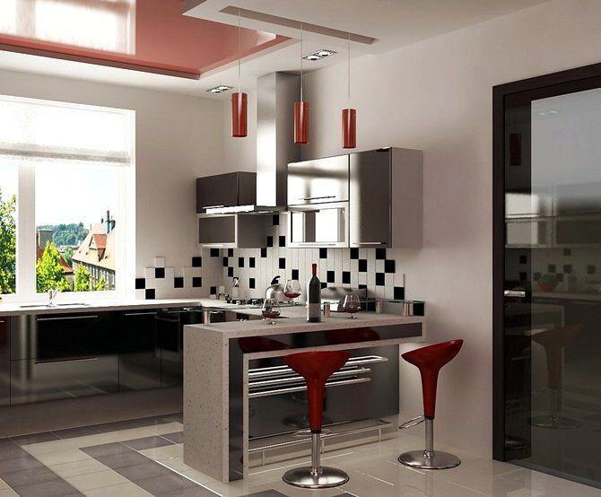Стиль хай-тек в интерьере кухни