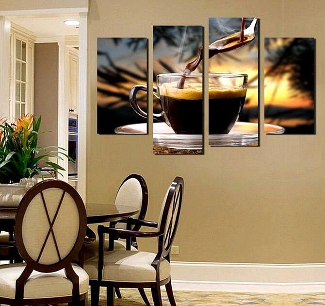 Модульная картина в интерьере кухни