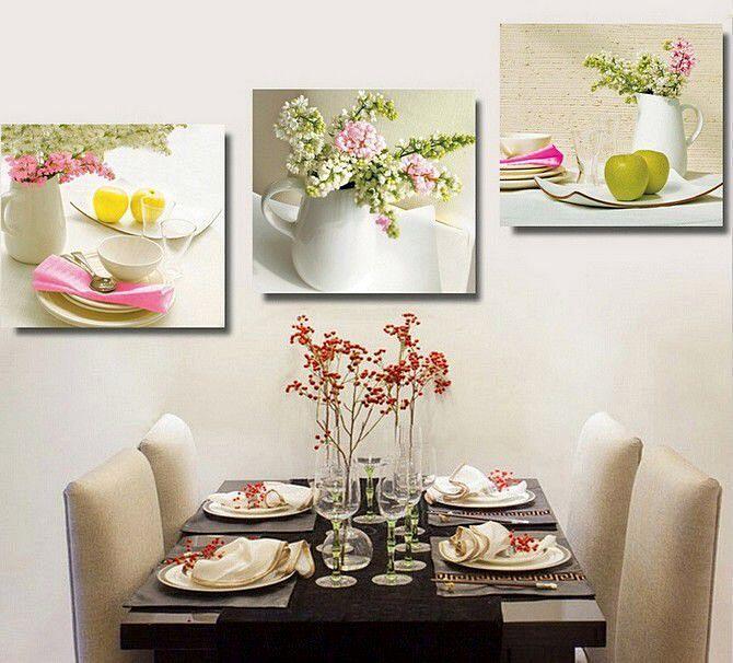 Нежная модульная картина в интерьере кухни