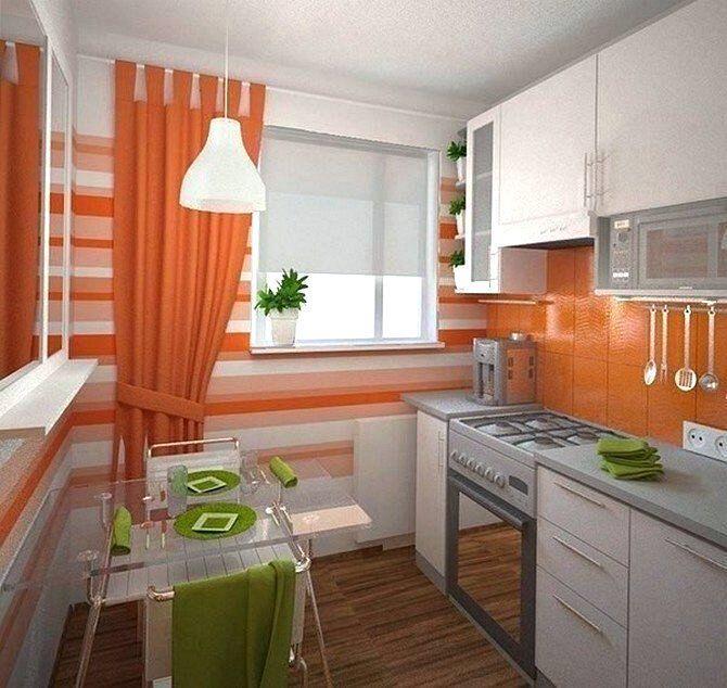 Яркий интерьер маленькой кухни
