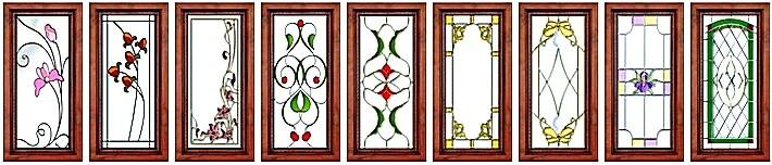 Кухонные фасады с витражом 2