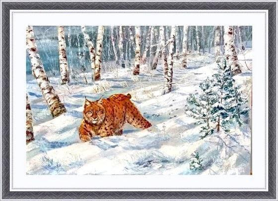 Зимний пейзаж с рысью