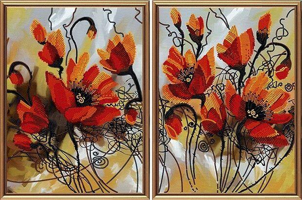 Рисунок на ткани. Огненные цветы