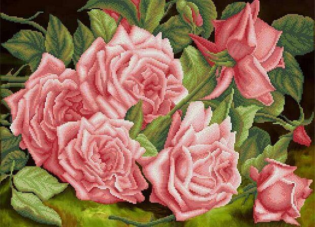 Рисунок на ткани. Розы