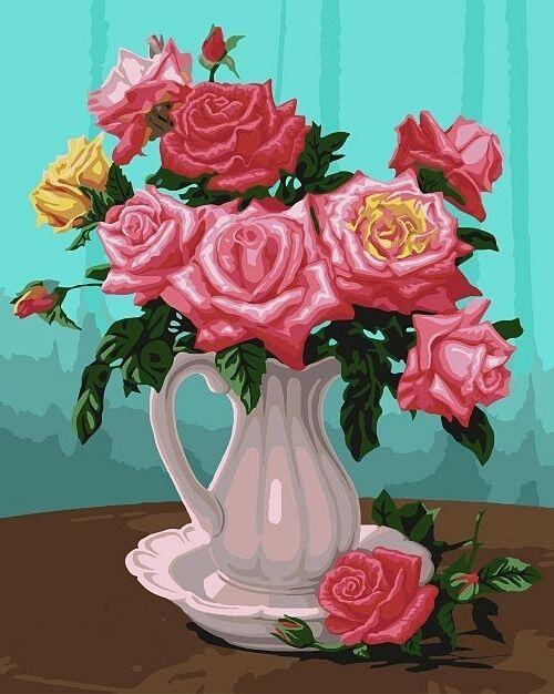 Раскраска. Розы в вазе