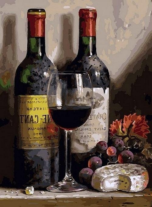 Раскраска. Вино, сыр и виноград