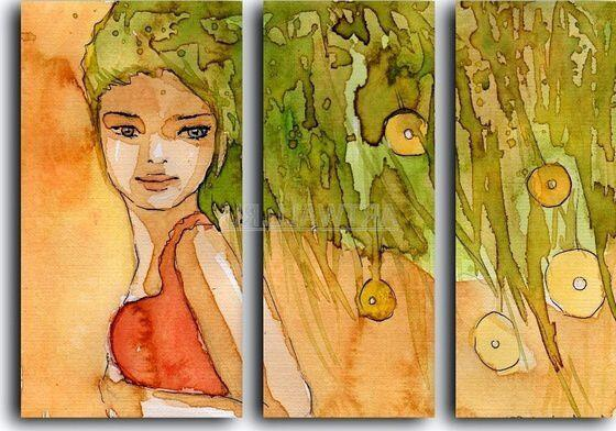 Модульная картина Девушка и яблоня