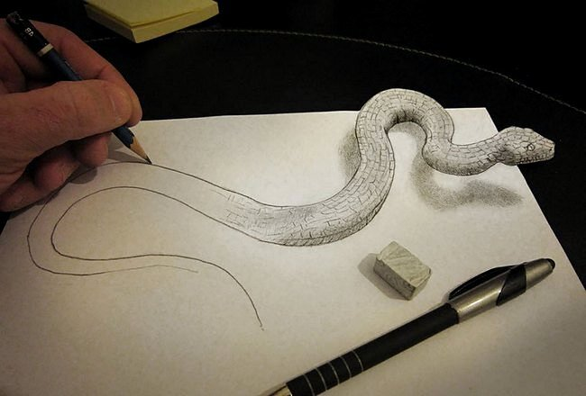Змея на трехмерном рисунке