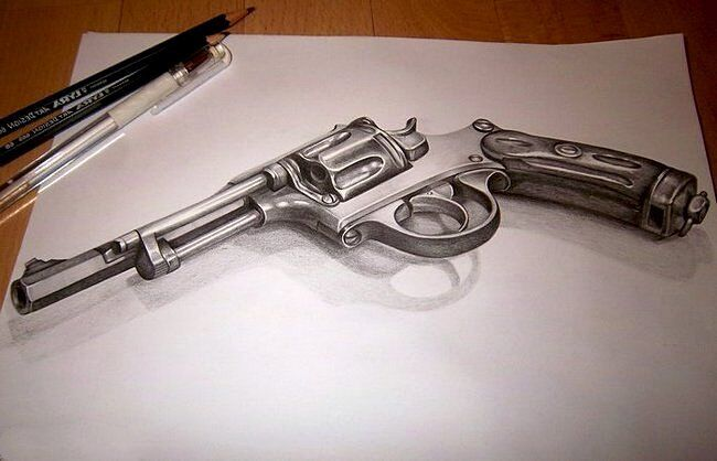 Револьвер на трехмерном рисунке