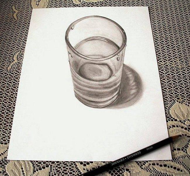 Стакан с водой на трехмерном рисунке