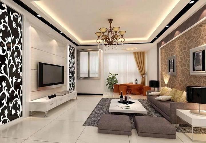 Пестрый дизайн гостиной